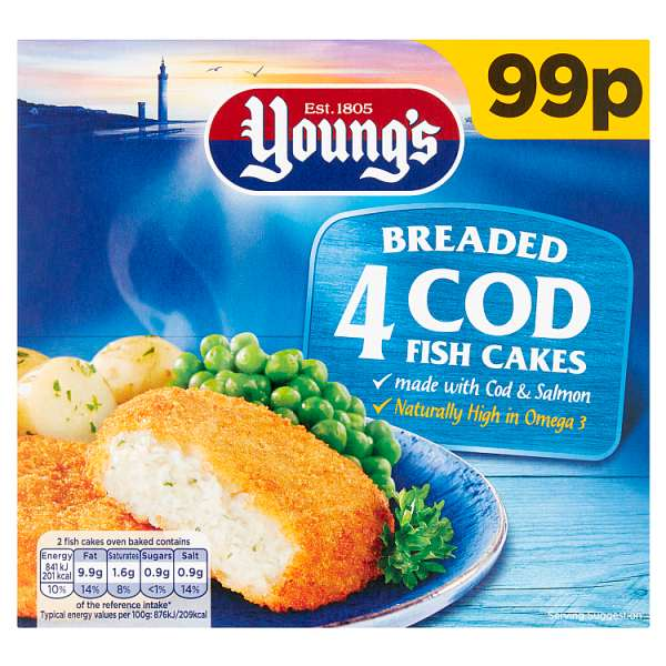 Young's 4 Breaded Cod Fish Cakes 200g