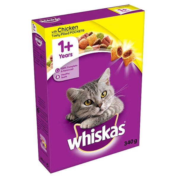 WHISKAS 1+ Cat complete Dry with Chicken 340g (MPP £1.19)