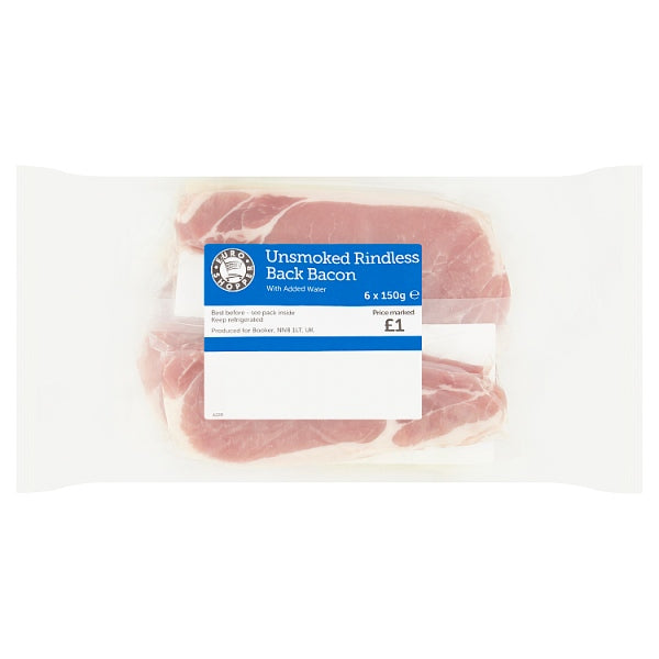 Euro Shopper Unsmoked Rindless Back Bacon 6 x 150g PM £1