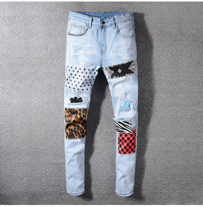 Sokotoo Men's Stars Printed Leopard Patchwork Rivet Slim Jeans