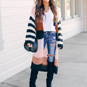 Women Striped Long-Cut Knitted Cardigans
