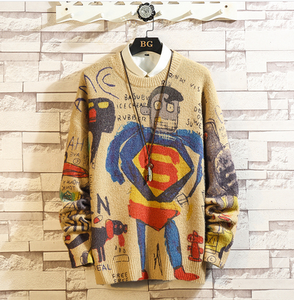 Men's Superman Print Slim Fit Knitted Sweaters