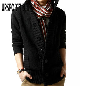 2019 New Sweater Cardigan Men Thick Sleeve Long Jacket Fashion Casual Slim Loose Collar Button Knit Solid Color Sweater For Men