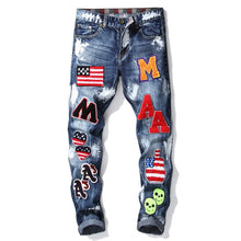 Load image into Gallery viewer, Men's Patchwork Ripped Embroidered Jeans Straight Denim
