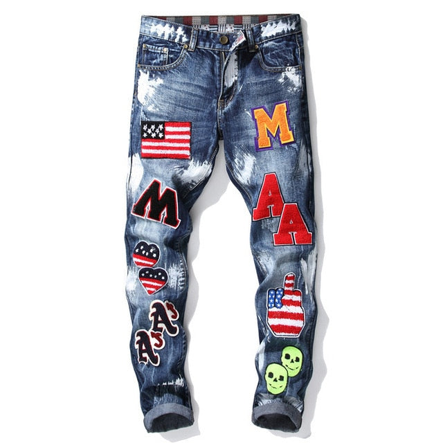 Men's Patchwork Ripped Embroidered Jeans Straight Denim