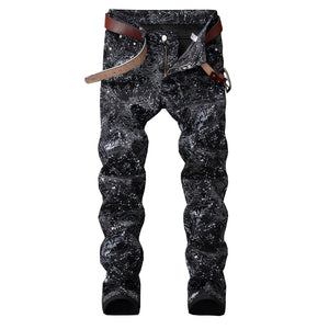 "Sokotoo Men's Black ""Galaxy"" Slim-Fit pencil jeans"
