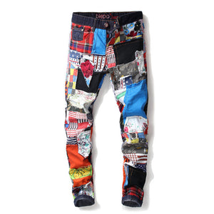 2020 AUTUMN Winter Men's Patchwork Ripped Embroidered Stretch Jeans Trendy Holes Straight Denim Trouers