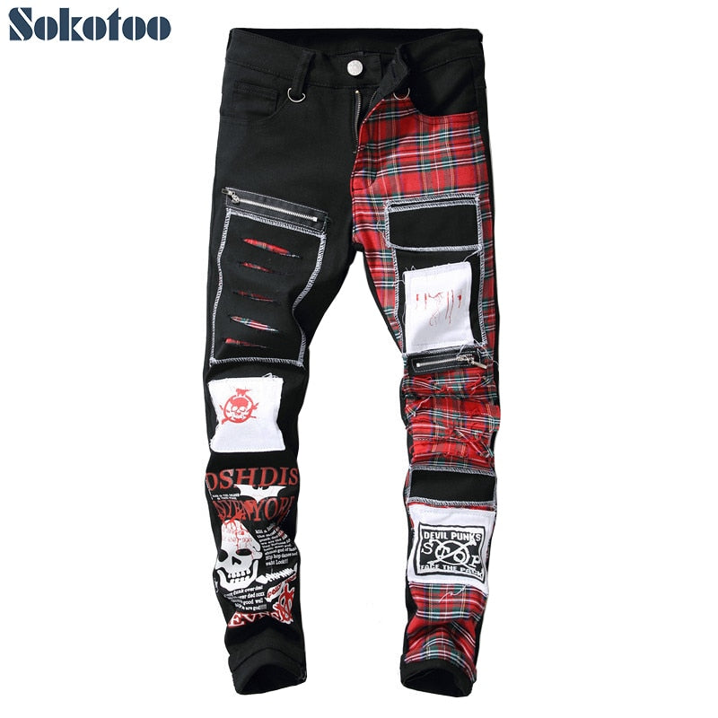 Sokotoo Men's Skull Printed Scottish Plaid Patchwork jeans