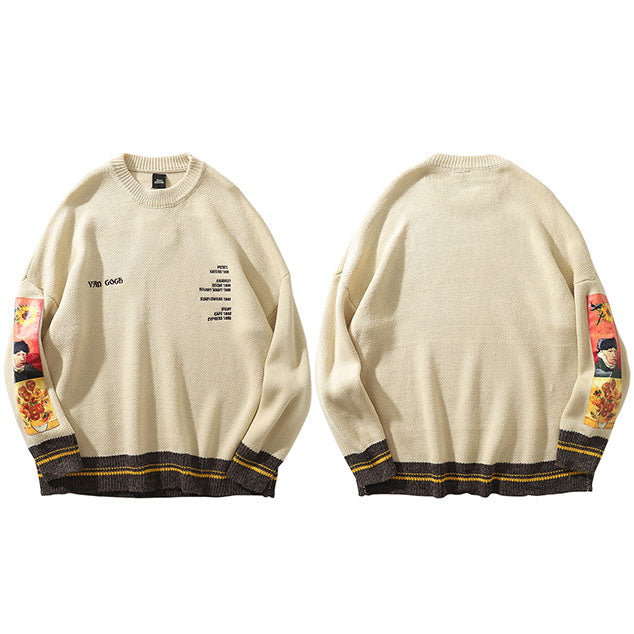 Men's  Streetwear Van Gogh Painting  Knitted Sweater