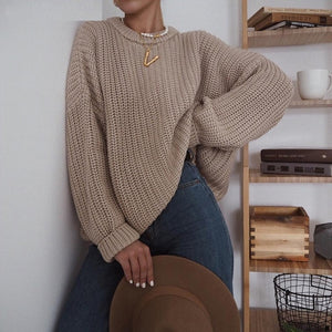 Women's Elegant Knitted Oversized Sweater (One Size)