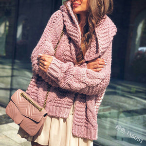 Women's Lantern Sleeve Knitted Hooded Cardigan