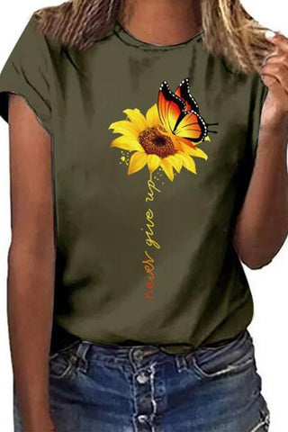 Candynana Butterfly Sunflower Round Neck Short Sleeve T-shirts