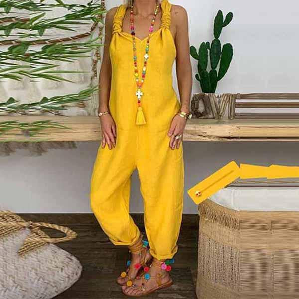 Candynana Casual Sleeveless Pure Colour Jumpsuit