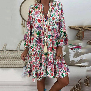 Candynana Sexy Pleated Printed V-neck Swing Loose Dress