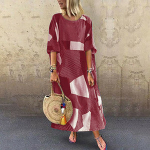 Candynana Round Neck Retro Geometric Printing Loose Casual Dress