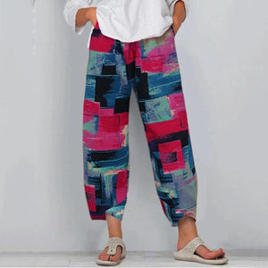Candynana Cotton and Linen Colorful Printing Elastic Large Size Pants