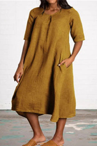 Candynana Solid color plus size pocket cotton and linen dress