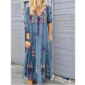Candynana Blue Casual Patchwork Cotton-Blend V Neck Dresses