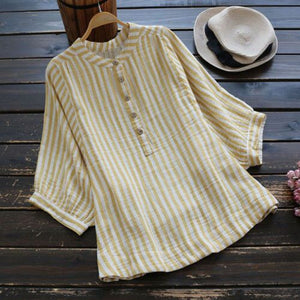 Women Vertical Striped V neck High Low Button Shirt
