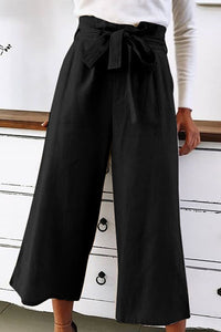 Lace-up solid color wild fashion cropped pants