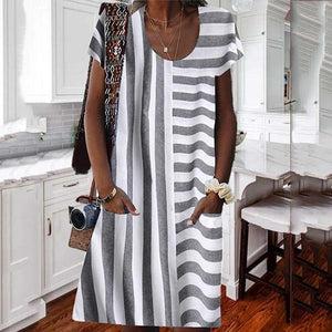 Candynana Sexy Striped Stitching Pocket Round Neck Women's Dress