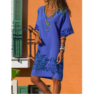 Candynana Casual Cotton-Blend V Neck Dresses