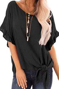 Loose short sleeve solid color womens t-shirt