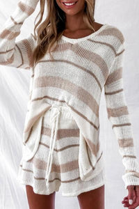 Candynana Casual Striped Tethered Knitted Women's Two-piece Set