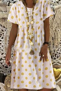 Candynana Cotton and linen polka dot short-sleeved mid-length dress