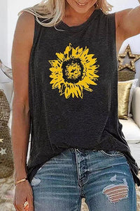 Candynana Women Crew Neck Casual Sunflower Printed Tank Tops