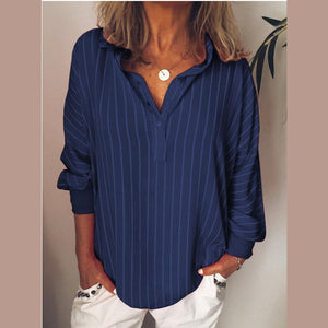 Candynana Long Sleeve Stripe Lapel Casual Blouse For Women