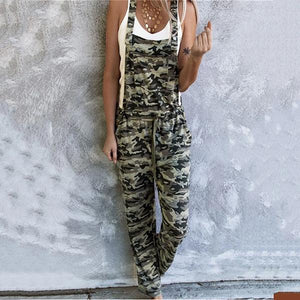 Candynana Fashion Camouflage Printed Drawstring Jumpsuit