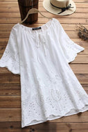 Candynana Hollow Embroidery Laced Half Sleeve Vintage Blouses