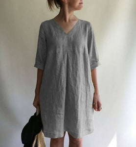 Candynana V-neck solid color cotton and linen loose dress women