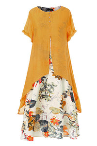 Candynana Cotton and linen printed round neck fake two-piece dress