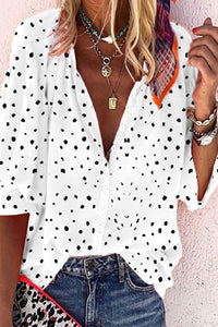Candynana Womens printed button down lapel shirt