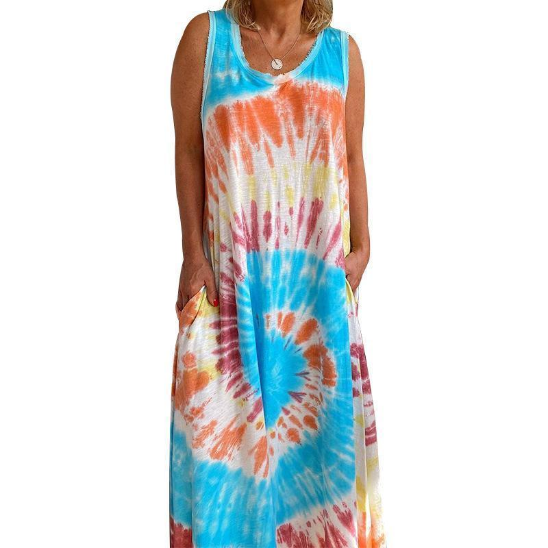 Candynana Women's Tie-dye Printed Casual Loose Vest Dress