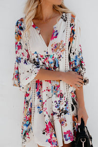 Candynana Printed hollow V-neck flared sleeve blouse