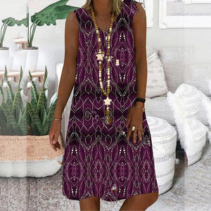 Candynana Printed Sleeveless Large Size Loose V-neck Women's Dress