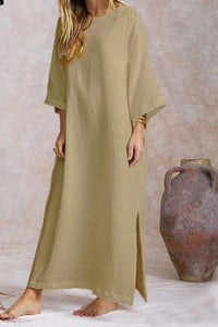 Cotton and linen round neck flared long sleeve hem split dress