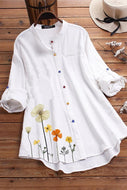 Candynana Flower Print Colorful Button Long Sleeve Shirt For Women