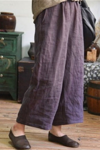 Candynana  cotton and linen loose nine points wide leg pants