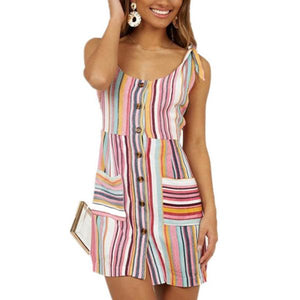Candynana Women's Pocket Single-breasted U-neck Striped Printed Dress