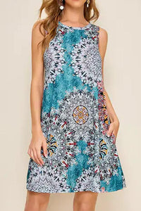 Candynana Ethnic Style Printed Sleeveless Dress