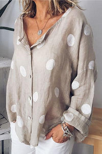 Candynana Women's Cardigan Polka Dot Long Sleeve Printed Shirt