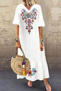 Candynana Sexy Printed Short Sleeve Pullover Long Dress