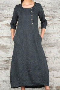 Round neck 7-point sleeve cotton and linen long dress