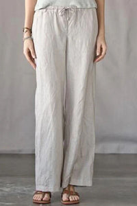 Candynana Solid color cotton and linen loose casual casual trousers