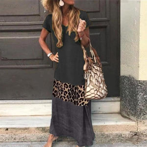Candynana Sexy Leopard Pattern Stitching Short-sleeved Printed V-neck Long Dress