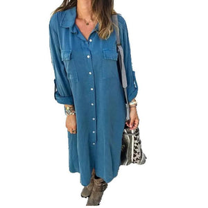 Candynana Sexy Long-sleeved Button Pocket Shirt Dress